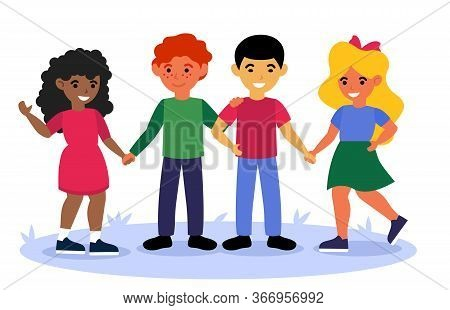 Multicultural Children Standing Together And Holding Hands Flat Vector Illustration. Cartoon Smiling