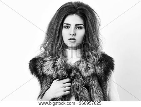 Winter Fashionable Wardrobe. Silver Fur Vest Fashion Clothing. Girl Makeup Face Long Hairstyle Wear