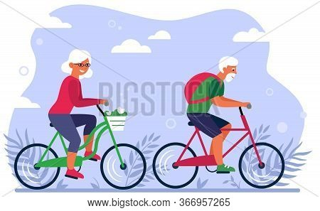 Old Couple On Bikes In Park Flat Vector Illustration. Cartoon Happy Grandpa And Grandma Cycling On N