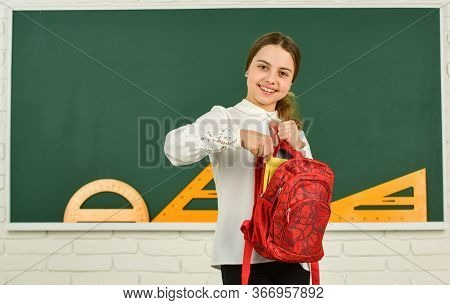 Clever Teenager Student. Knowledge Day. Girl In School Classroom Copy Space. School Project. Educati