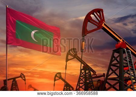 Maldives Oil Industry Concept, Industrial Illustration. Maldives Flag And Oil Wells And The Red And