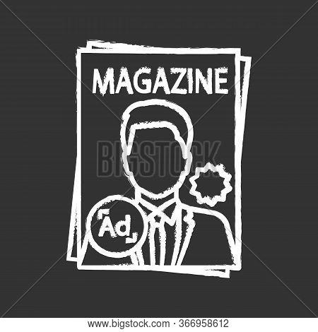 Magazine Chalk Icon. Tabloid. Print Media. Periodical Publication With Celebrity Photo. Paper Magazi