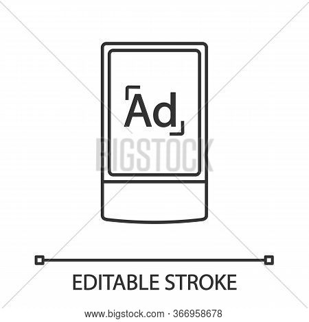 Street Advertising Lightbox Linear Icon. Outdoor Scrolling Billboard Stand. Thin Line Illustration.