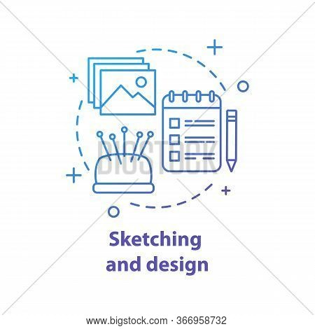 Clothes Design Sketches Concept Icon. Dressmaking Idea Thin Line Illustration. Sewing. Tailoring Wor