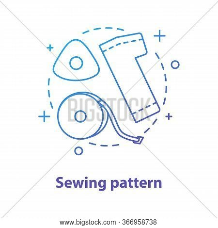 Sewing Pattern Creation Concept Icon. Dressmaking Idea Thin Line Illustration. Tailoring. Vector Iso