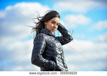 Matching Style And Class With Luxury And Comfort. Beauty And Fashion Look. Girl Jacket Cloudy Sky Ba