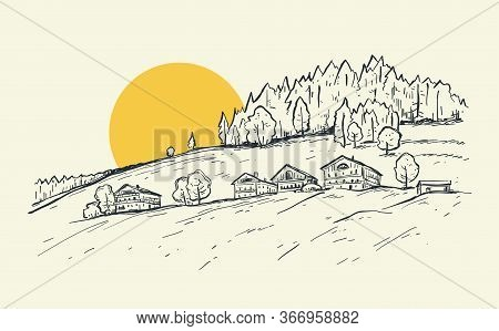 Rural Landscape With Sunrise. Sketch Hand Drawn Vector Illustration With A Village Houses On The Mou