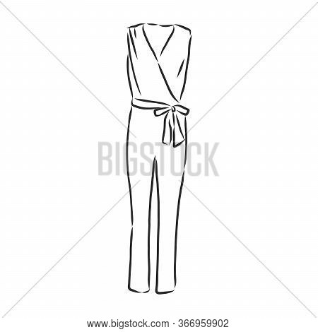 Jumpsuit Sketch. Jumpsuit Vector Sketch Illustration. Clothes