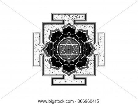 Old Yantra Design Icon, Hinduism Prakriti Sacred Diagram, 6 Pointed Star. Yantra Dasa Mahavidya Sacr