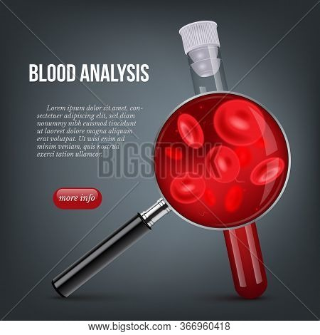 Blood Analysis Webpage Banner. Laboratory Medical Test Tube Filled Human Red Biological Liquid And C