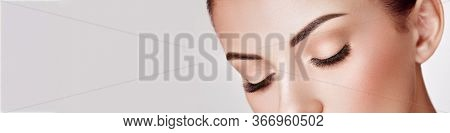 Beautiful Woman With Extreme Long False Eyelashes. Eyelash Extensions. Makeup, Cosmetics. Beauty, Sk