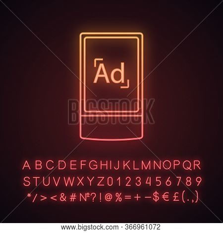 Street Advertising Lightbox Neon Light Icon. Outdoor Scrolling Billboard Stand. Led Advertising Ligh