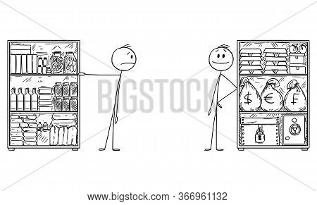 Vector Cartoon Stick Figure Drawing Conceptual Illustration Of Man With Stockpile Of Food For And Ri