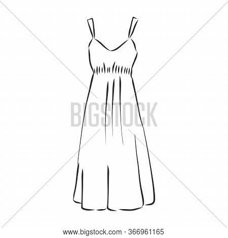 Vector Illustration Of Womens Summer Dresses. Casual Clothes. Womens Summer Dress, Sundress, Vector