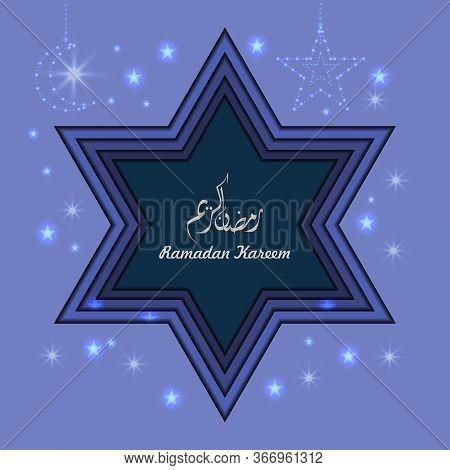 Ramadan Kareem Background. Paper Cut Vector Illustration With Star And Moon. Festive Ramadan Greetin