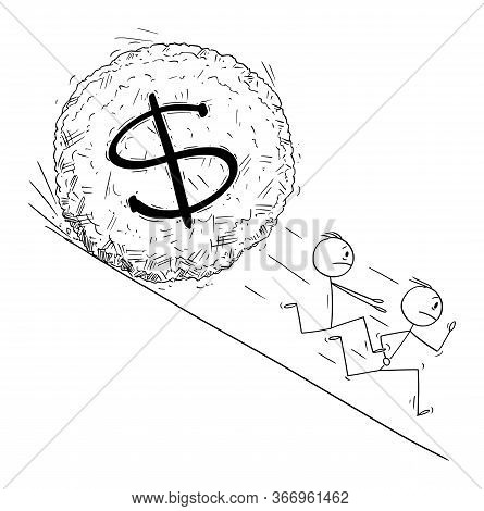 Vector Cartoon Stick Figure Drawing Conceptual Illustration Of Group Of Investor Or Businessmen Runn