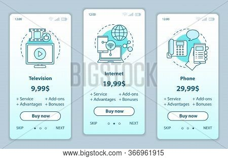 Tv, Phone, Internet Bundle Onboarding Mobile App Screens With Service Prices. Tariff Plans And Packa