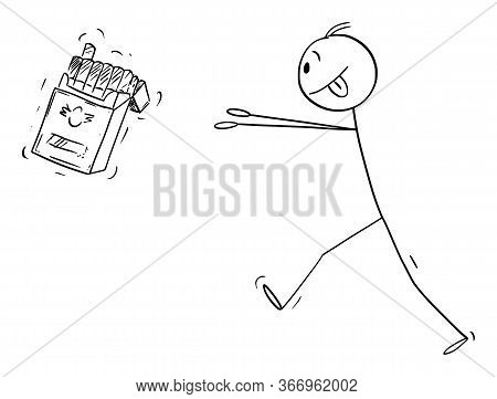 Vector Cartoon Stick Figure Drawing Conceptual Illustration Of Nicotine Addicted Man Trying To Get B