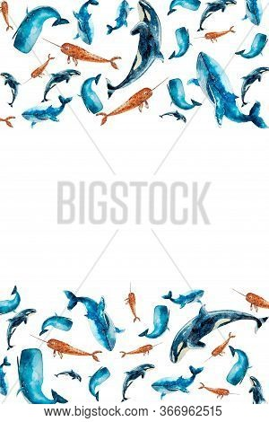 Watercolor Set Vertical Frame With Whales Isolated On White. Sketched Colorful Groups, Garland With
