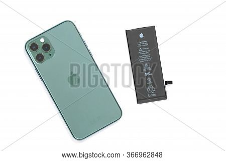 April 29, 2020, Rostov-on-don, Russia: Smartphone Iphone 11 Pro Of Midnight Green Color With New Lit
