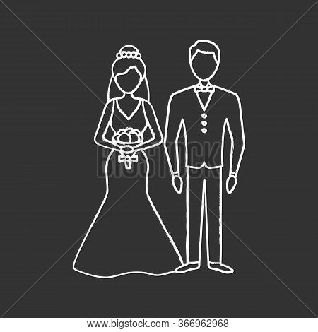 Bride And Bridegroom Chalk Icon. Wedding Ceremony. Newlywed. Just Married Couple. Fiance, Fiancee. W