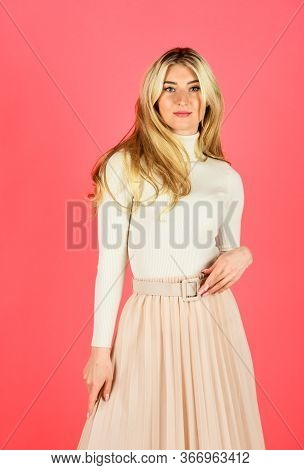 Following Her Personal Style. Glamour Female Collection. Stylish Makeup For Her. Blonde On Pink Back