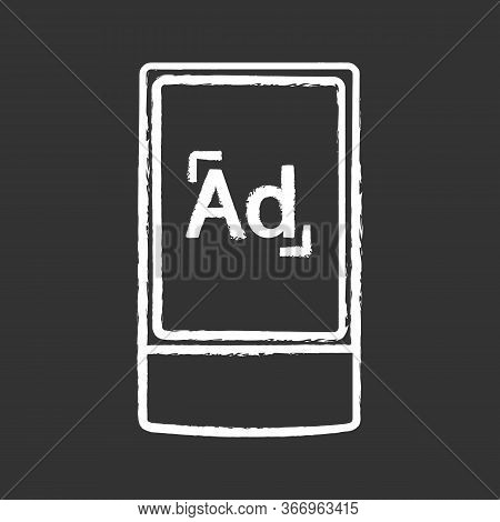 Street Advertising Lightbox Chalk Icon. Outdoor Scrolling Billboard Stand. Led Advertising Light Box