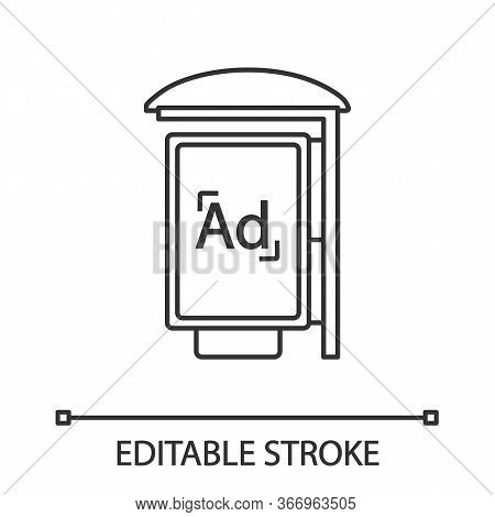 Bus Stop Advertisement Linear Icon. Outdoor Advertising. Thin Line Illustration. Bus Shelter Ads. Ad