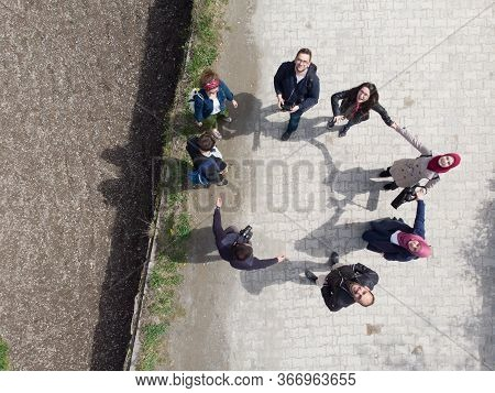 International Tourists Standing In The Cyrcle Are Taking Photo By Drone In Uzungol Part Of Trabzon C