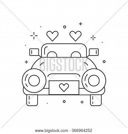 Newly Married Wedding Car Line Art Icon