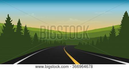 Asphalt Road In Green Mountains Summer Landscape Vector Illustration Eps10