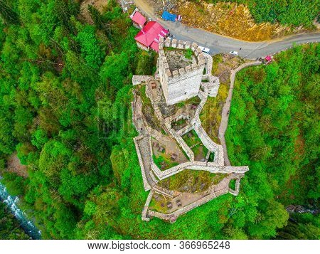Aerial View To The Zilkale Castle In Trabzon City Of Turkey