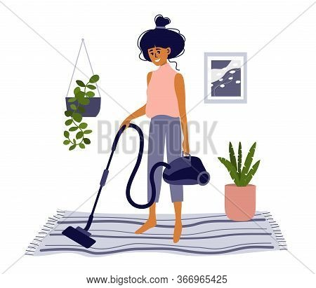 Stay Home, Do Housework. Lifestyle Scene Of Activity, Cleanup. Cute Girl Vacuuming Carpet By Vacuum