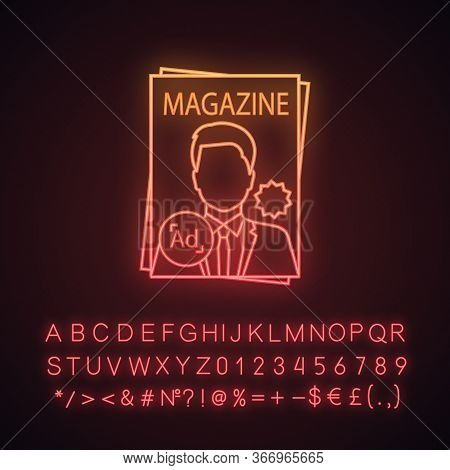 Magazine Neon Light Icon. Tabloid. Print Media. Periodical Publication With Celebrity Photo. Paper M