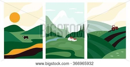 Vector Illustrations With Farm Land, Nature, Landscape. Agriculture Or Farming Banners. Set Of Abstr