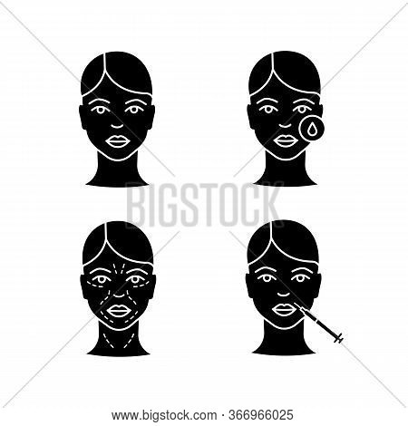 Neurotoxin Injection Glyph Icons Set. Woman Face, Makeup Removal, Mimic Wrinkles, Lips Injection. Si