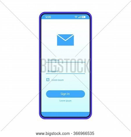 Email Sign In Smartphone Page Vector Template. Mobile App Interface Design Layout. Mail Login, Sign