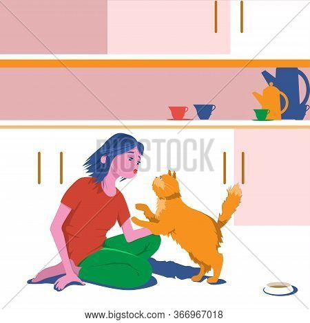 Girl Hugs Domestic Cat At Home In The Kitchen. Cute Cartoon Character Flat Design Vector Illustratio