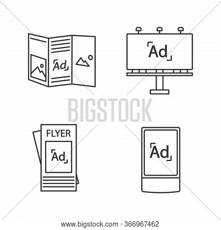 Advertising Channels Linear Icons Set. Brochure, Billboard, Street Advertising Lightbox. Thin Line C