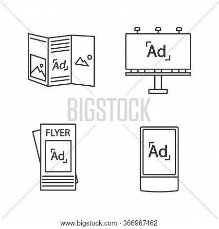 Advertising Channels Linear Icons Set. Brochure, Billboard, Street Advertising Lightbox. Thin Line C