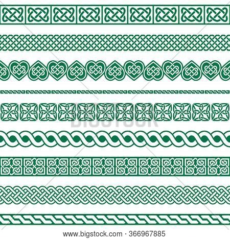 Irish Celtic Vector Seamless Design, Celtic Border And Frame Collection, Braided Ornaments For Greet