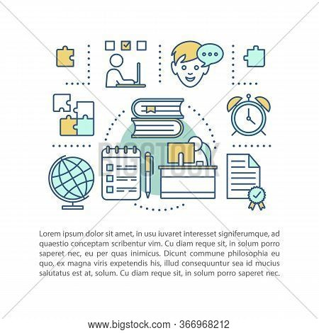 E-learning Concept Linear Illustration. Distance Education. Article, Brochure, Magazine Page Layout.