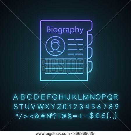 Personnel File Neon Light Icon. Personal Data. Hr Document. Professional Bio. Staff Member Document.