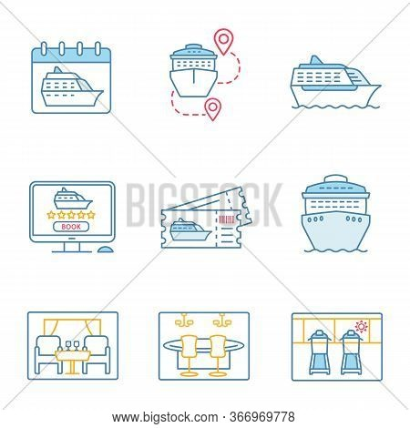 Cruise Color Icons Set. Summer Voyage. Cruise Departure Date, Ships, Trip Routes, Casino, Treadmills