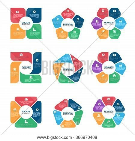 Square Pentagon And Hexagon Infographic Chart  (part Four, Part Five And Part Six) Vector Set Design