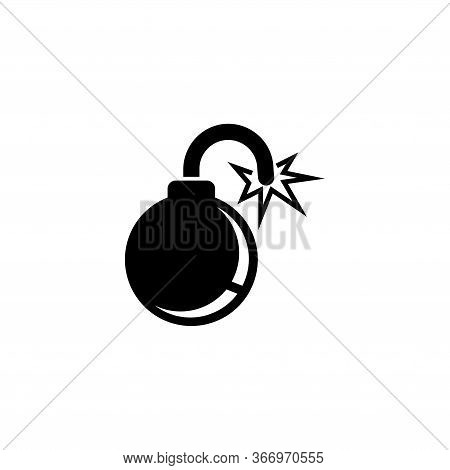 Fire Bomb, Explosive Military Weapon. Flat Vector Icon Illustration. Simple Black Symbol On White Ba