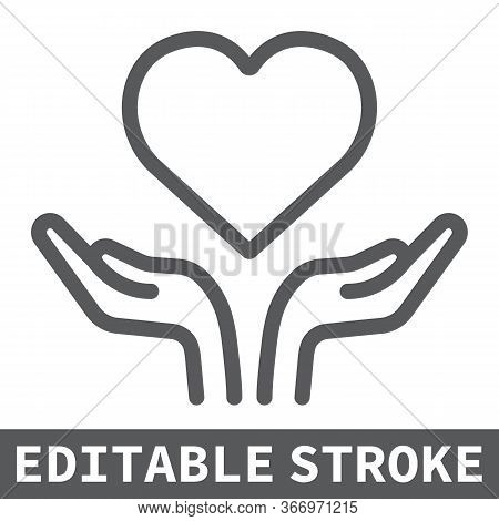 Heart In Open Hands Line Icon, Lgbt And Heart, Free Love Sign Vector Graphics, Editable Stroke Linea