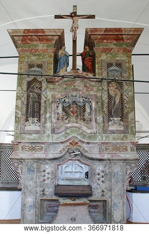 MARIJA GORICA, CROATIA - OCTOBER 02, 2012: Organ in the Church of the Visitation of the Virgin Mary in Marija Gorica, Croatia