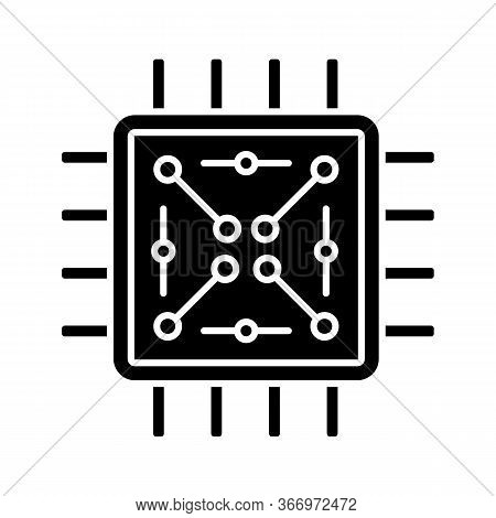 Processor With Electronic Circuits Glyph Icon. Microprocessor With Microcircuits. Chip, Microchip, C