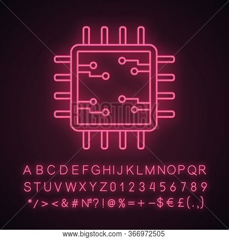 Processor With Electronic Circuits Neon Light Icon. Microprocessor With Microcircuits. Chip, Chipset